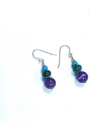Amethyst, Chrysocolla, & Turquoise Earrings
