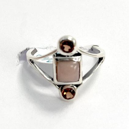 Pink Opal and Garnet Geometric Ring