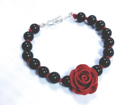 Rose & Obsidian Bracelet