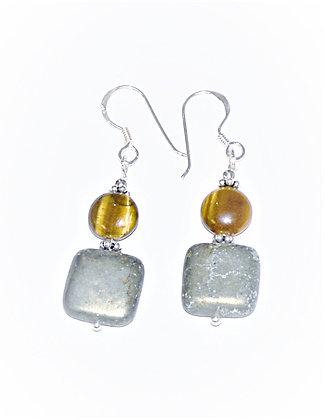 Tigers Eye & Pyrite Earrings