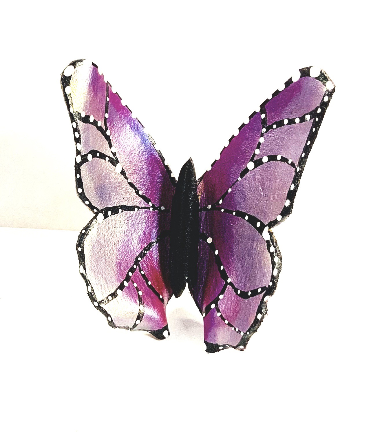 Thumbnail: Violet Bronze Leather Butterfly Ring