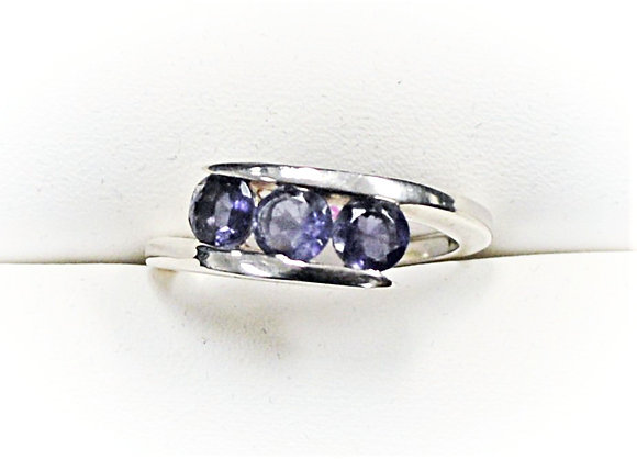 Iolite 3 Stone Bypass Ring