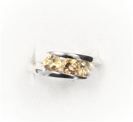 Three Stone Citrine Ring