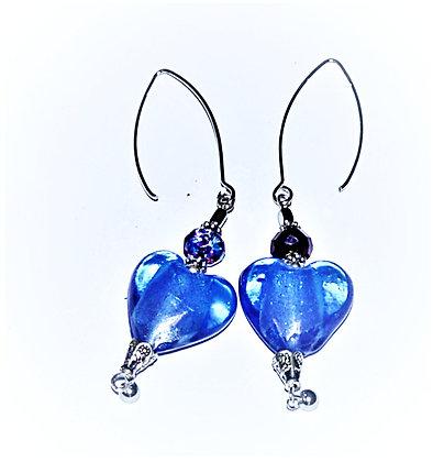 Bohemian Hearts Earrings (Cobalt)