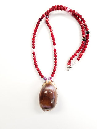 Coral & Purple Cowrie Shell Necklace