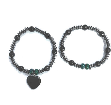 Blackstone, Hematite, & Chrysocolla Bracelet Set