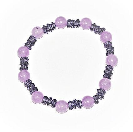 Lavender Jade & Amethyst Stretch Bracelet
