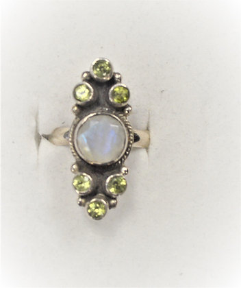 Moonstone & Peridot Cluster Ring