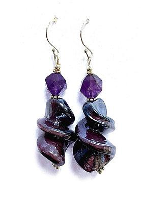 Amethyst & Spun Glass Earrings
