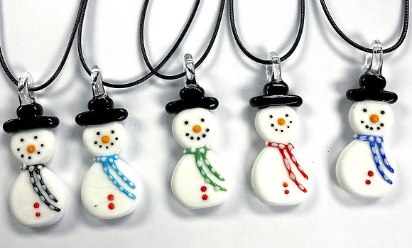 Glass Snowman Necklace