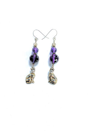 Amethysts & Cats Earrings