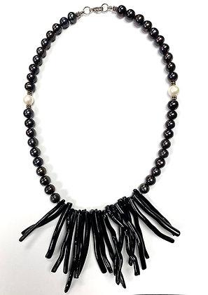Pearl & Black Coral Necklace