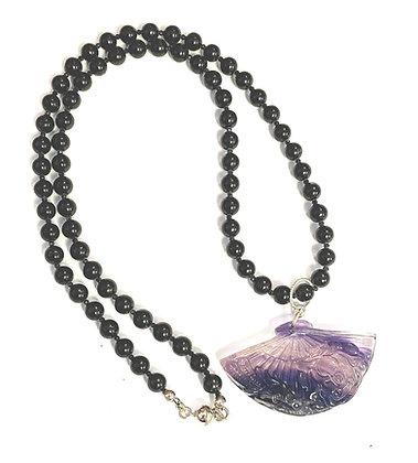 Black Tourmaline & Flourite Fan Necklace