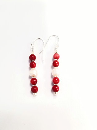 Coral and Baroque Pearl Earrings