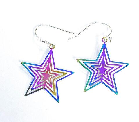 Iridescent Star Earrings