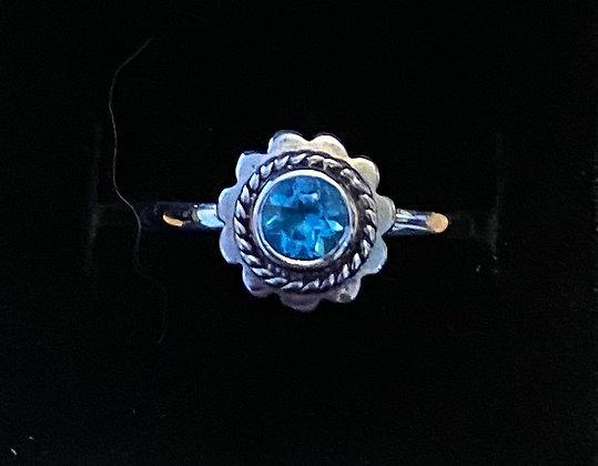 Blue Topaz Lotus Ring