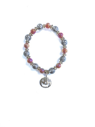 Jack O' Lantern Gemstone Bracelet/Rustic