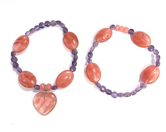 Cherry Quartz (synthetic) & Amethyst Charm Bracelet Set