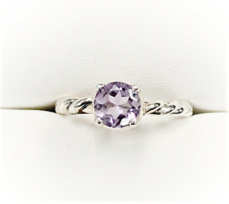 Twisted Band Rose Amethyst Solitaire