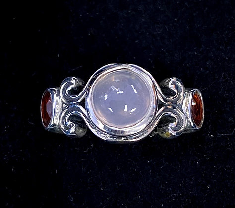 Moonstone & Garnet Faerie Ring