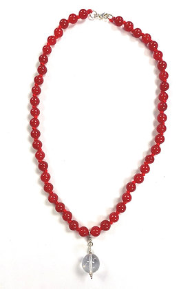 Red Jade with Crystal Ball Pendant