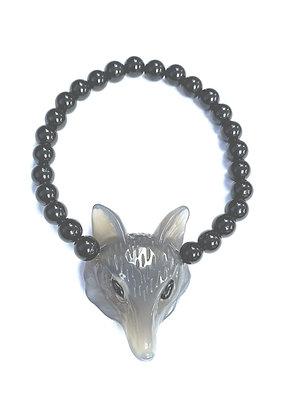 Black Tourmaline & Agate Fox Stretch Bracelet