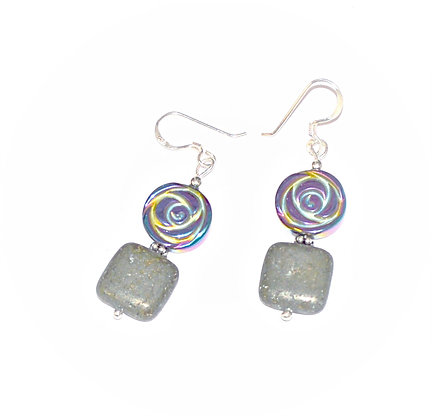 Rose and Pyrite Earrings