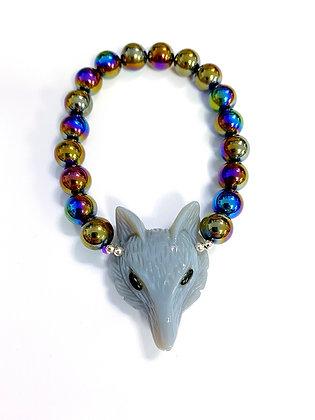 Fox Bracelet with Peacock Quartz
