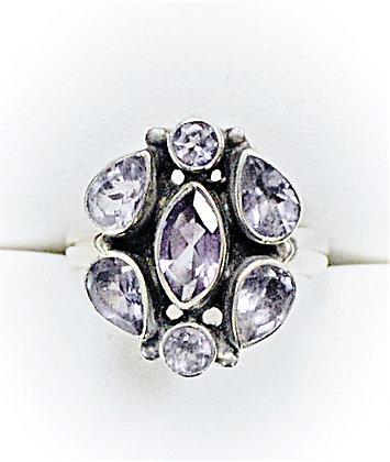 Rose Amethyst Cluster Ring