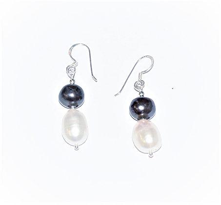 Black & White Baroque Pearl Earrings