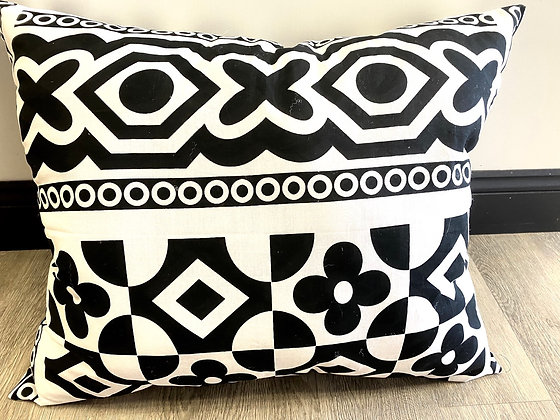 Black & White Ankara Print Pillow