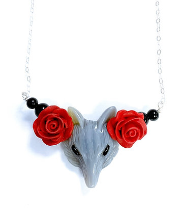 Fox and Roses Necklace