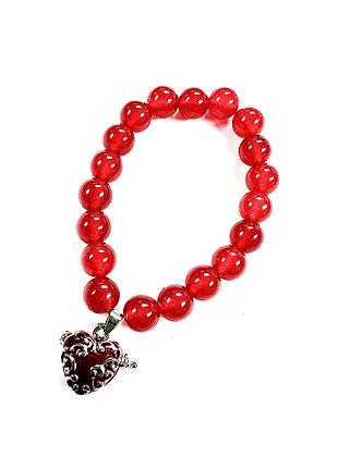 Cherry Quartz Heart Locket Bracelet (Red)