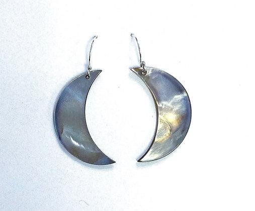 Black Lip Shell Crescent Moon Earrings