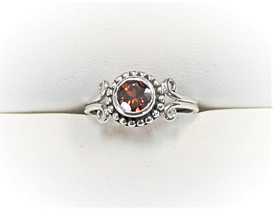 Garnet Ring (Beaded Bezel)