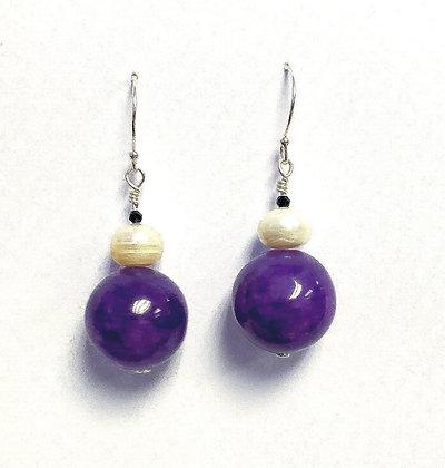 Purple Jade & Pearl Earring