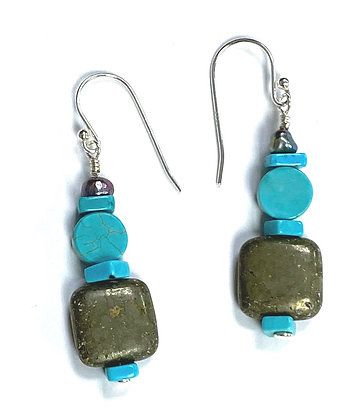 Pearl, Turquoise, & Pyrite Earrings