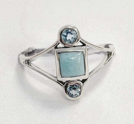 Larimar and Blue Topaz Geometric Ring