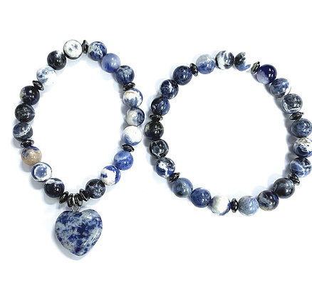 Sodalite Charm Bracelet Set