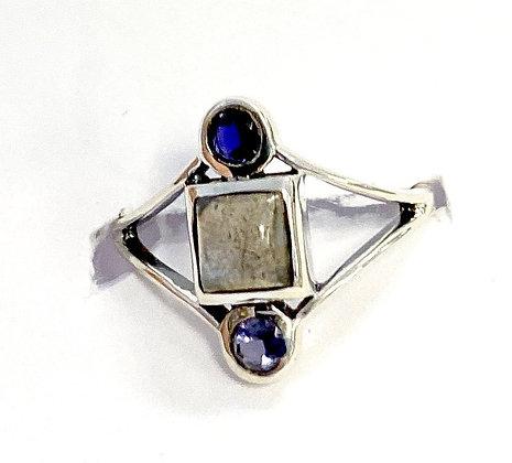 Larimar with Iolite Geometric Ring