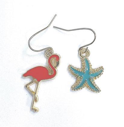 Flamingo & Starfish Enamel Earrings
