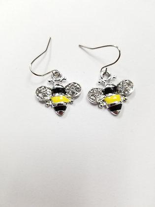 Enamel and Crystal Bumblebee Earrings