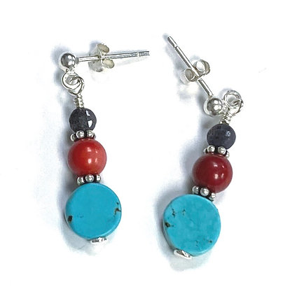 Sapphire, Coral, & Turquoise Post Earrings