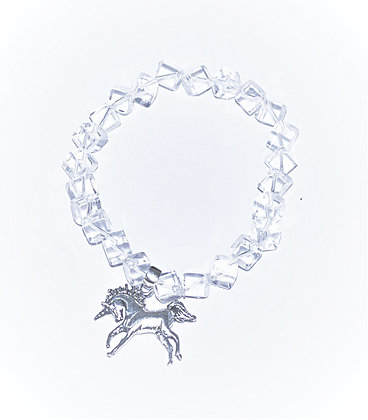Quartz Cube Unicorn Charm Stretch Bracelet