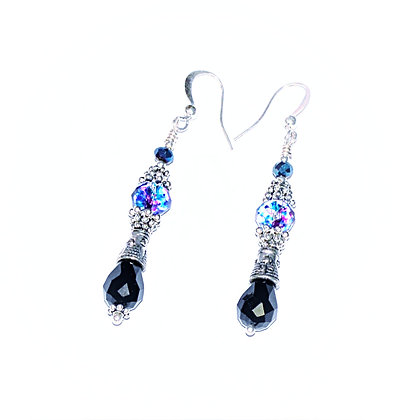 Gothic Revival Drop Earring (Black & Confetti)