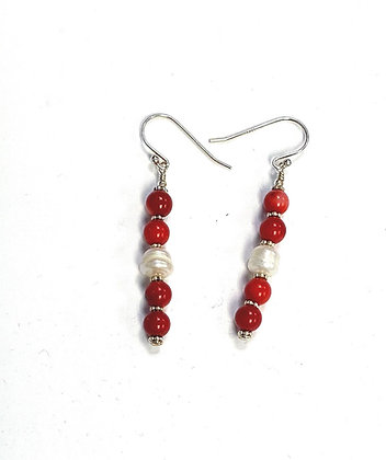 Coral & Pearl Earrings