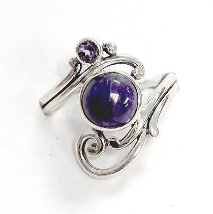 Charoite and Amethyst Swirl Ring