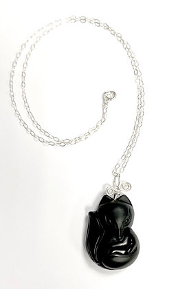 Obsidian Fox Necklace