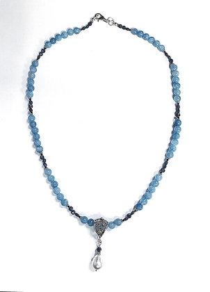 Aquamarine & Sapphire Necklace w/Tahitian Pearl Slide