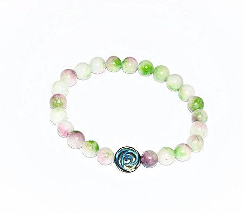 Hematite Rose and Jade Stretch Bracelet